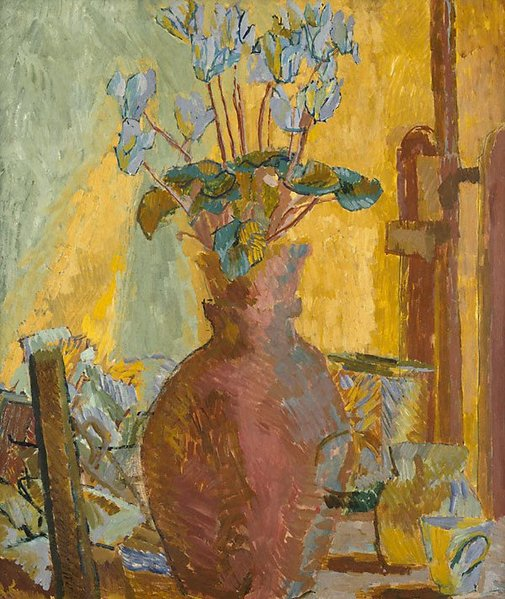 An image of Still life with cyclamen by Duncan Grant