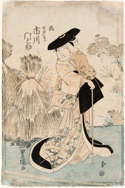 An image of Actor Ichikawa Monnosuke III as the fox woman Kuzunoha by Utagawa Toyokuni