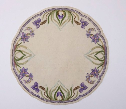 An image of Table centre with Patersonia (purple flag iris) design by Mabel Lush