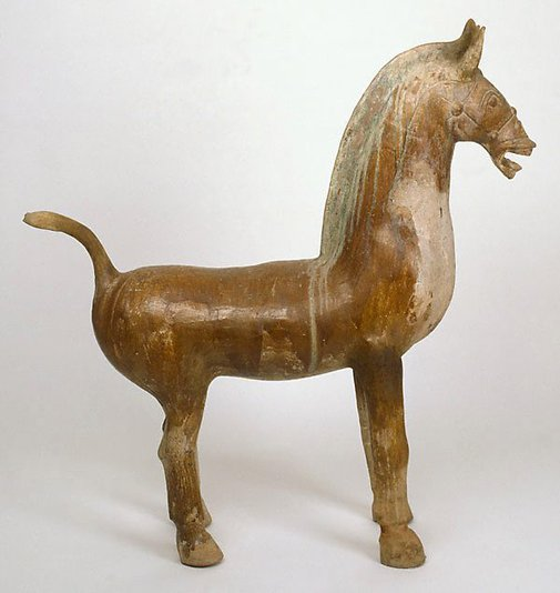 An image of A massive earthenware horse by
