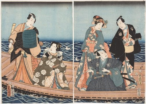 An image of Boating excursion on the Sumidagawa by Utagawa Kunisada/Toyokuni III