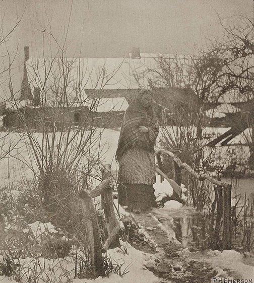 An image of A slippery path, winter scene, Norfolk by Peter Henry Emerson