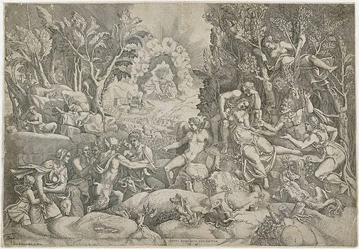 An image of The death of Procris by Giorgio Ghisi, after Giulio Romano