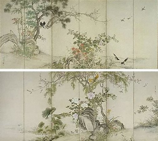 An image of Birds and flowers of the four seasons by Yamamoto Baiitsu