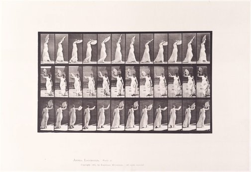 An image of Animal Locomotion - An Electrophotographic Investigation of Consecutive Phases of Animal Movements. Plate 41. Walking; flirting a fan [Vol. 6 Females (Semi-Nude & Transparent Drapery) & Children] by Eadweard Muybridge