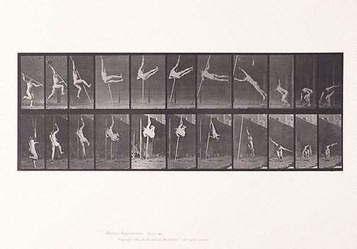 An image of Animal Locomotion - An Electrophotographic Investigation of Consecutive Phases of Animal Movements. Plate 164. Jumping and pole - vaulting [Vol. 1 Males (Nude)] by Eadweard Muybridge