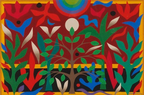 An image of Maquette for tapestry 'Paradise garden' by John Coburn