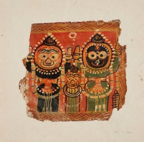 An image of Jagannatha, Balabhadra and Subhadra