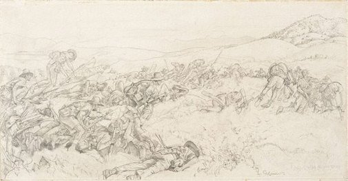 An image of Cartoon for 'The charge of the 3rd Light Horse Brigade at the Nek' by George W Lambert