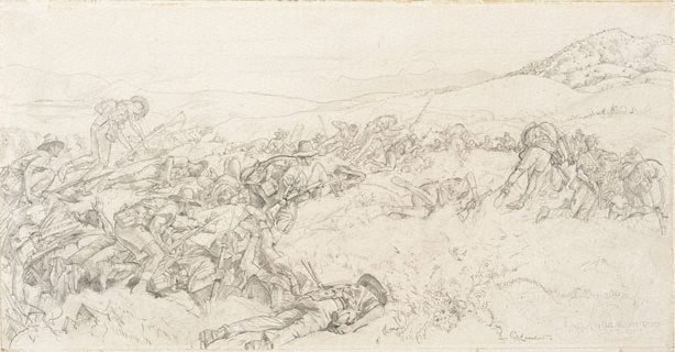 An image of Cartoon for 'The charge of the 3rd Light Horse Brigade at the Nek'
