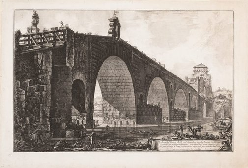 An image of View of the Ponte Molle over the Tiber two miles outside Rome by Giovanni Battista Piranesi
