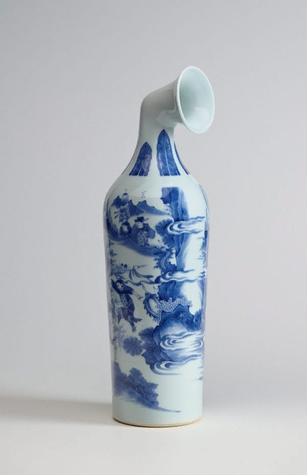 An image of Madeln Curved Vase- Blue and White Vase with Design of Figures