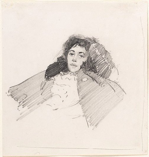 An image of recto: Head of a woman, Beatrice B Beattie verso: (drawing of a man and a little girl) by George W Lambert