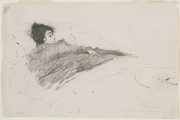 An image of Ada Beattie in bed with influenza