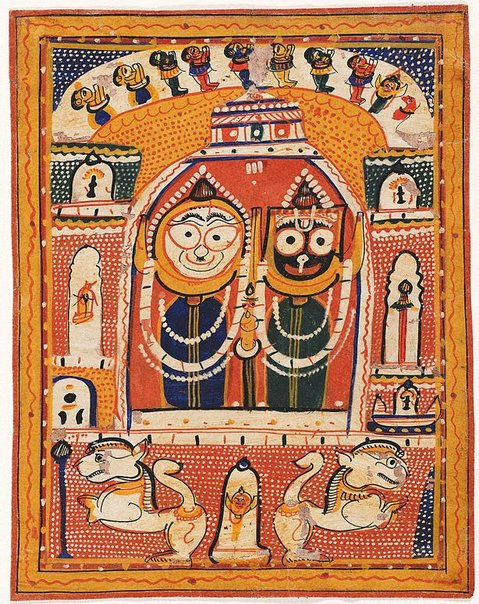 An image of Jagannatha, Balabhadra and Subhadra enshrined in a temple by