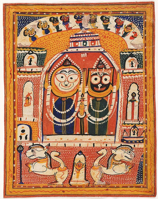 An image of Jagannatha, Balabhadra and Subhadra enshrined in a temple