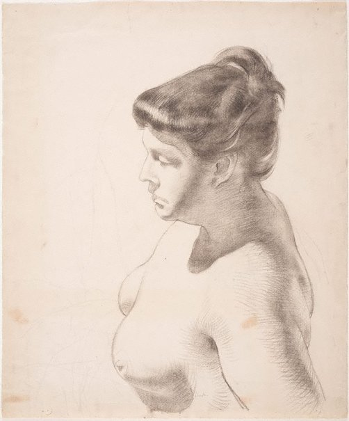 An image of Nude, head and shoulders in profile from above (Phyl Waterhouse) by Charles Bush