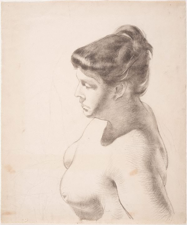 An image of Nude, head and shoulders in profile from above (Phyl Waterhouse)