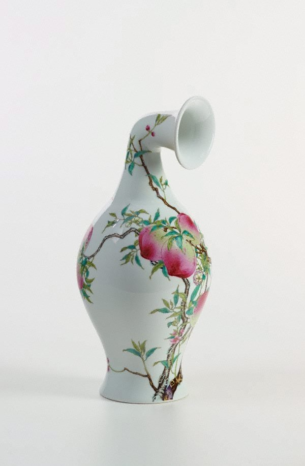 An image of Madeln Curved Vase- Famille-Rose Olive Vase with Bat and Peach Design, Yongzheng Period, Qing Dynasty