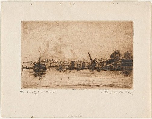 An image of Dawes Point from McMahon's Point by F Sidney Walker