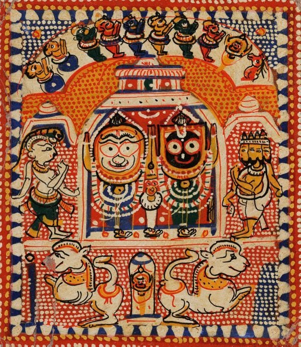 An image of The Jagannatha trinity enshrined in a temple