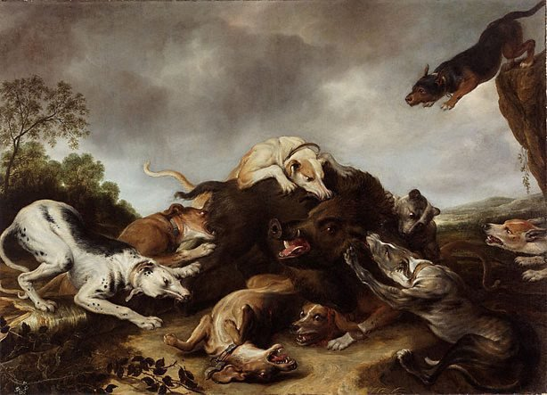 The boar hunt, (circa 1650s) by Frans Snyders