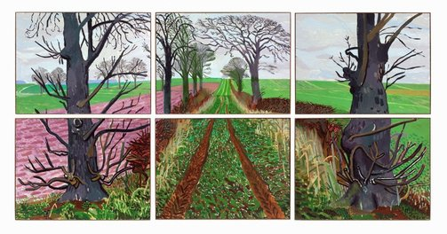 An image of A closer winter tunnel, February-March by David Hockney