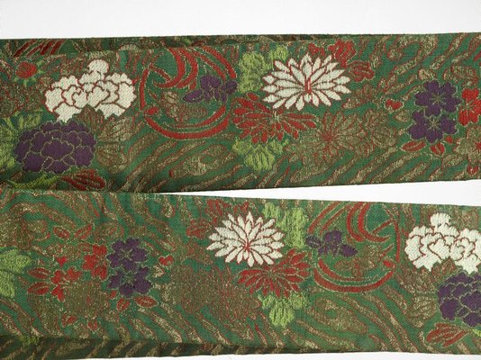 Alternate image of Koshimaki obi (sash) with cherry blossoms, narcissus, peonies and stylised wave by