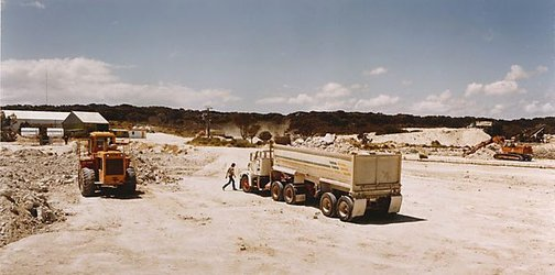 An image of Picking up the gypsum to be crushed and then carried to Ballast Head to await the ship by Ed Douglas