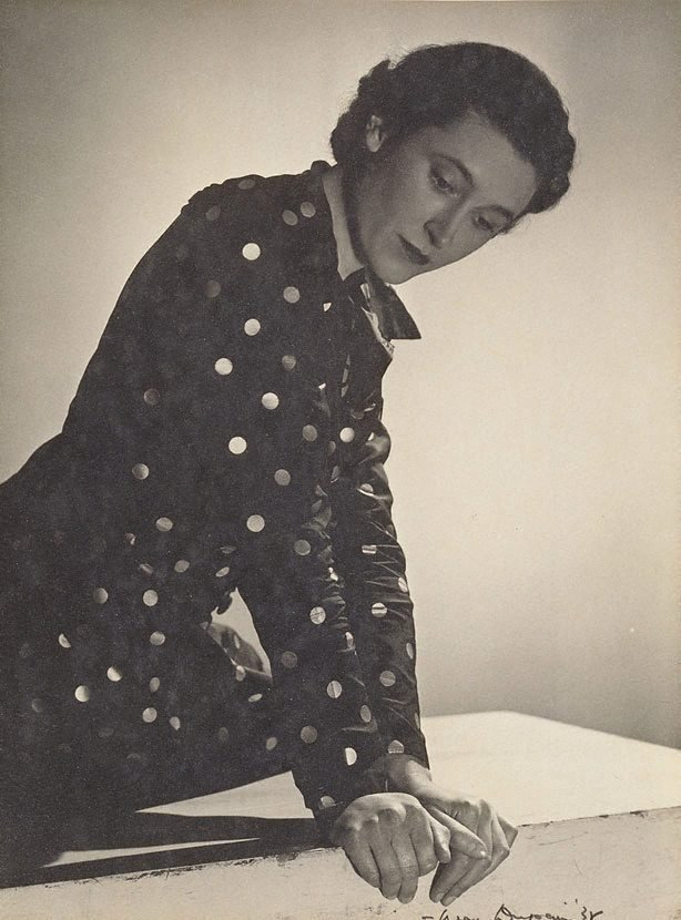 An image of Untitled (Vesta Davies in spotted dress, looking down)