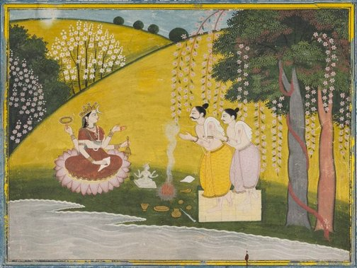 An image of Devotees worshipping the Great Goddess by