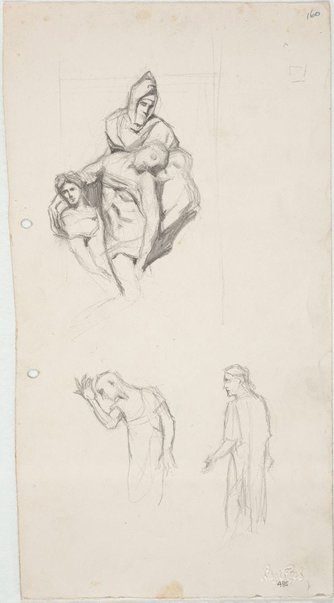 An image of Michelangelo's 'Pietà'  and Rodin's 'Burghers' by Lloyd Rees