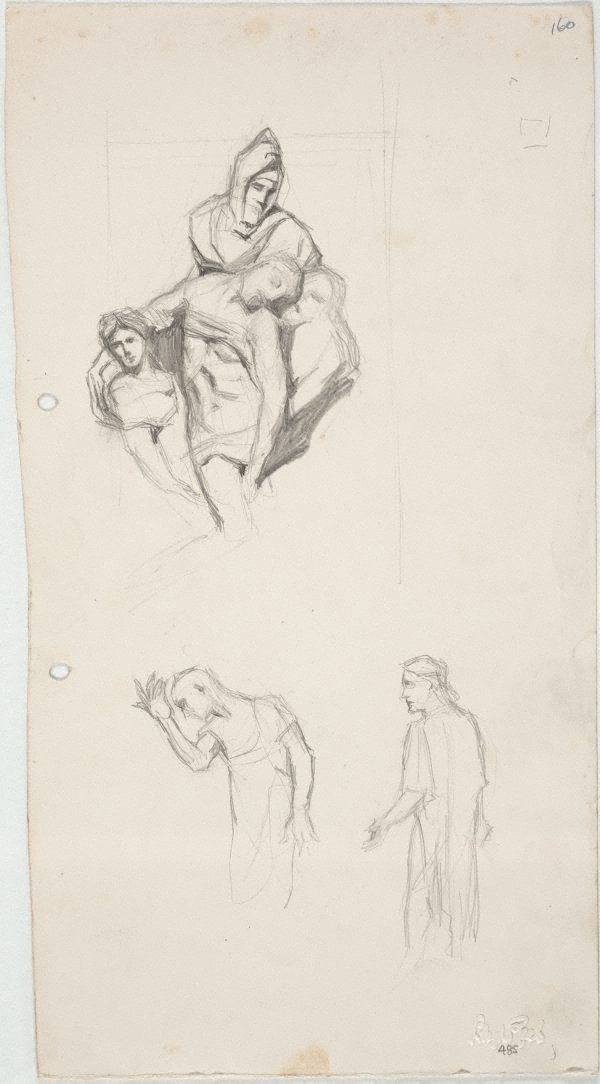 An image of Michelangelo's 'Pietà'  and Rodin's 'Burghers'