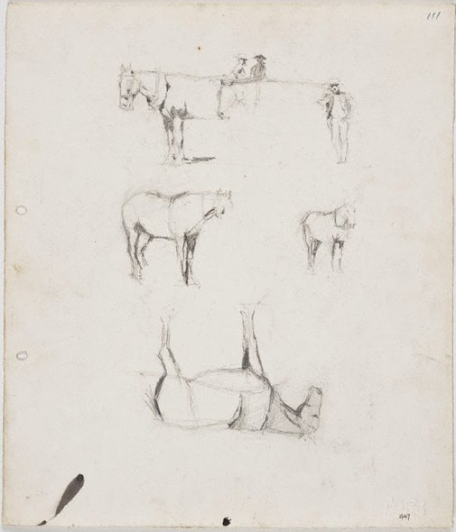 An image of recto: Horses and figures verso: Horses and figures and Ted Rees's head by Lloyd Rees
