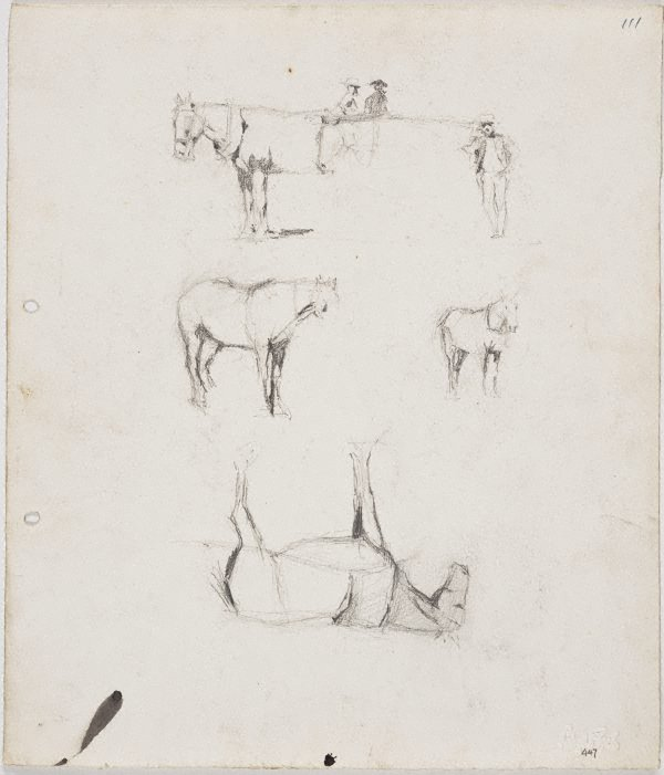 An image of recto: Horses and figures verso: Horses and figures and Ted Rees's head