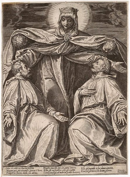 An image of The Madonna protecting two members of a confraternity by Agostino Carracci, after Paolo Veronese