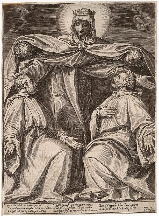 An image of The Madonna protecting two members of a confraternity