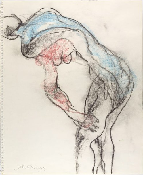 An image of Bending female nude by John Olsen
