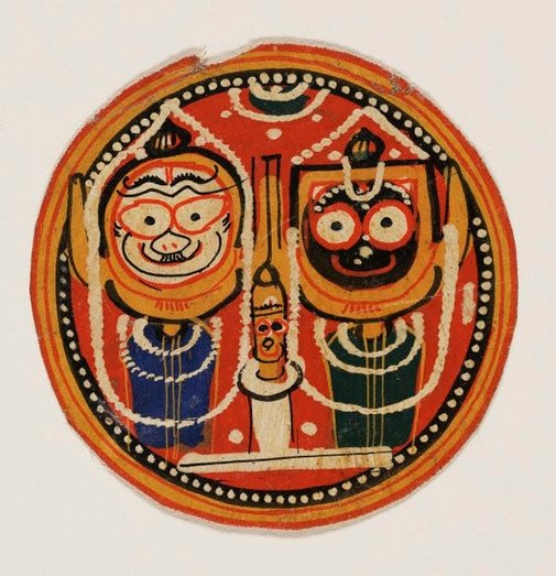 An image of Circular painting of the Jagannatha trinity by