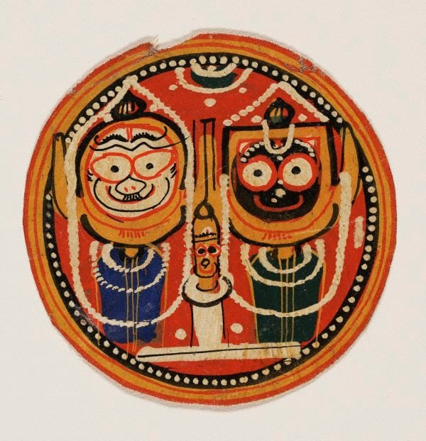 An image of Circular painting of the Jagannatha trinity