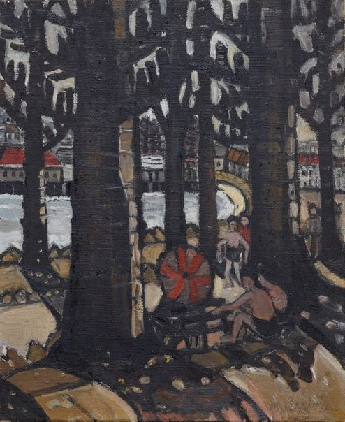 An image of Manly Harbour Beach by Margaret Preston