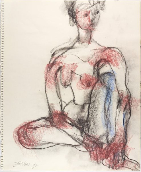 An image of Seated female nude by John Olsen