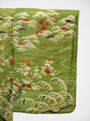 Alternate image of Unlined kosode ('hitoe') with design of mandarin ducks in snow covered landscape with plum trees, pines and reeds on yellow-green plain weave ramie ('asa') by