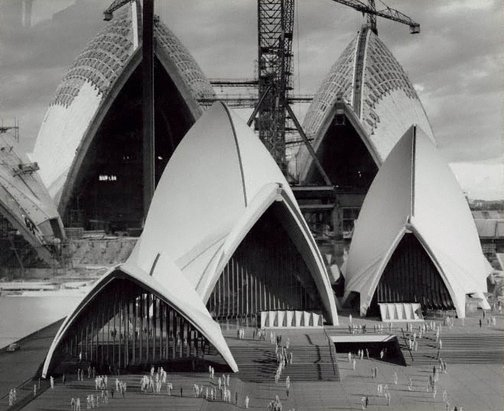 An image of The Sydney Opera House under construction with model by David Moore