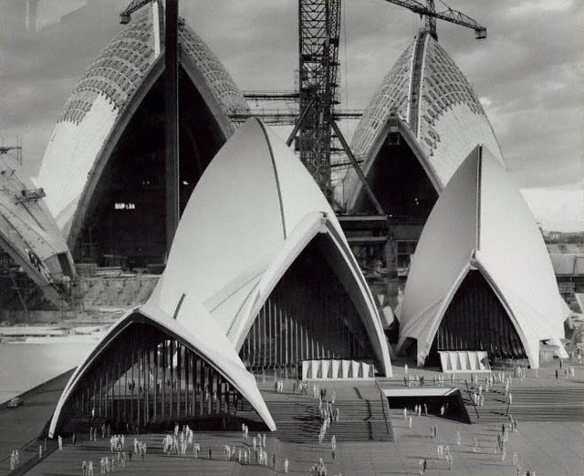 An image of The Sydney Opera House under construction with model