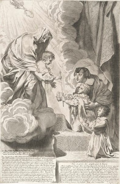 An image of Anne of Austria placing the Regency of France in the hands of the Queen of Peace by Claude Mellan