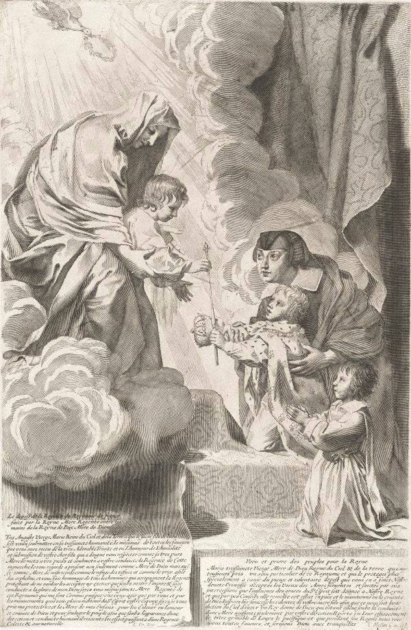 An image of Anne of Austria placing the Regency of France in the hands of the Queen of Peace