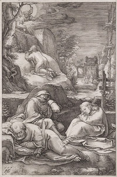 An image of Christ on the Mount of Olives by Hendrick Goltzius
