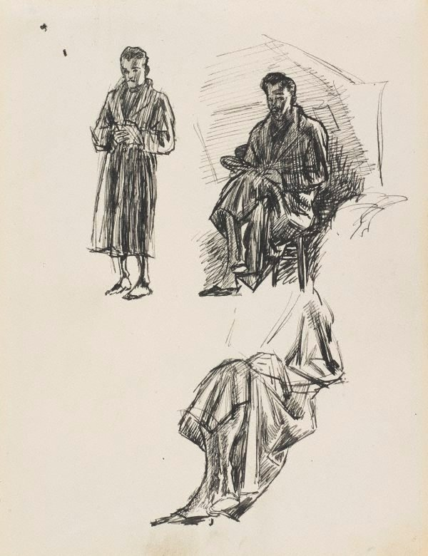 An image of Dobell in his dressing gown