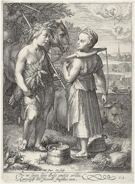 An image of Summer by Jan Saenredam, after Hendrick Goltzius